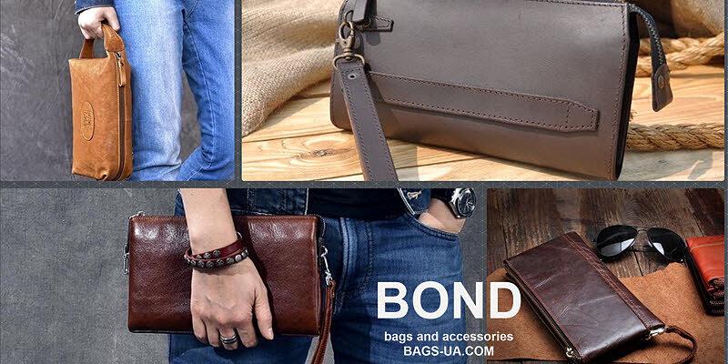 Стильные клатчи из натуральной кожи Bond для мужчин